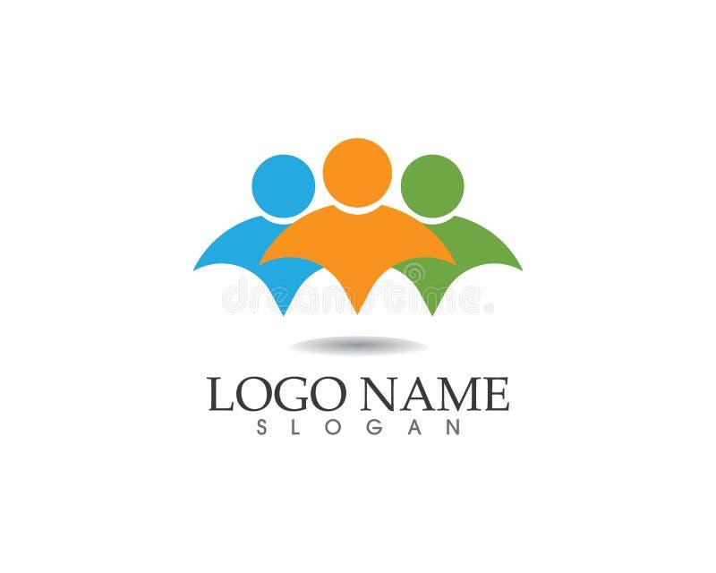 Logotipo del cuidado de la gente de la comunidad y plantilla de los símbolos ilustración del vector