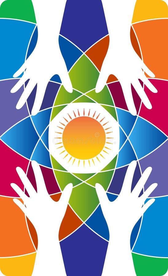 Logotipo del cuidado de la mano stock de ilustración