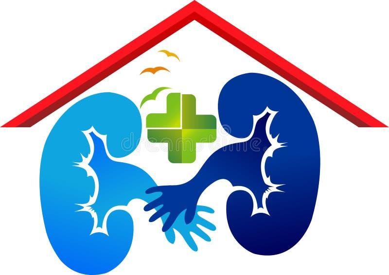 Logotipo del cuidado del riñón ilustración del vector