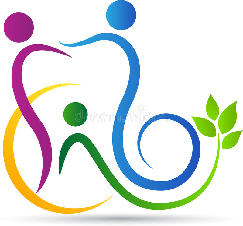 Logotipo del cuidado dental de la familia stock de ilustración