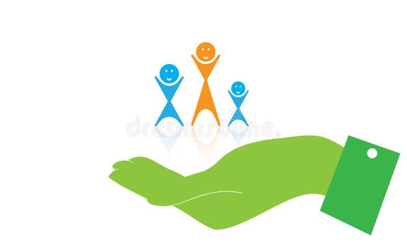 Logotipo del cuidado - cuidado Logo Template de la familia del vector y manos stock de ilustración