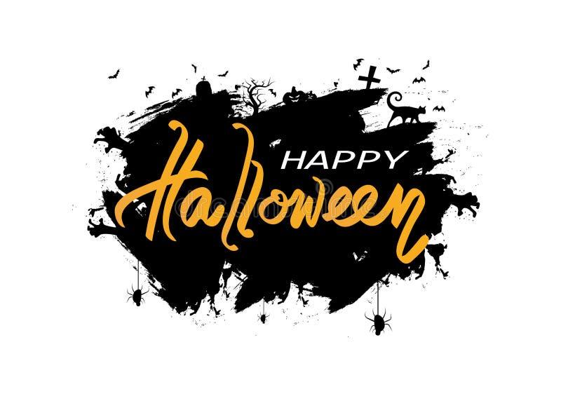 Logotipo del día del feliz Halloween y cartel de la muestra, vector creativo del fondo del extracto del concepto de la silueta de libre illustration