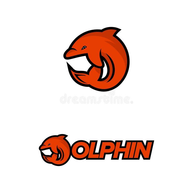 Logotipo del delfín con concepto de la letra D stock de ilustración