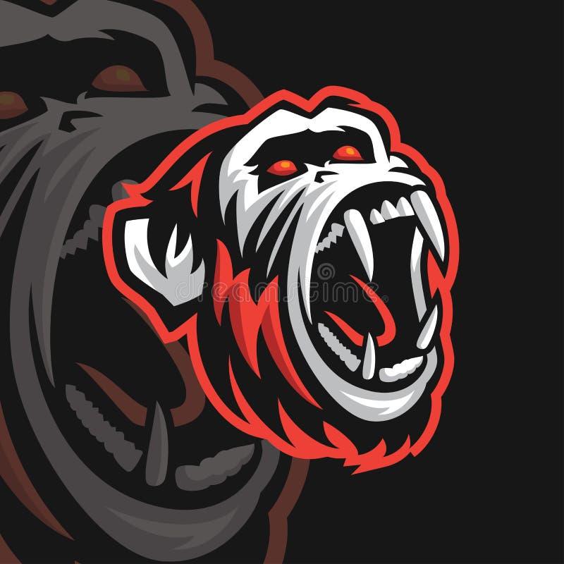 Logotipo del deporte del chimpancé e stock de ilustración