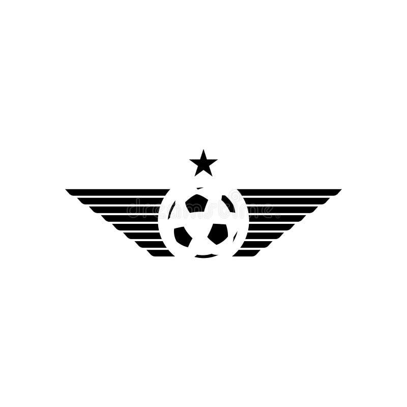 Logotipo del deporte de la maqueta del balón del fútbol o de fútbol, emblema del torneo del diseño ilustración del vector