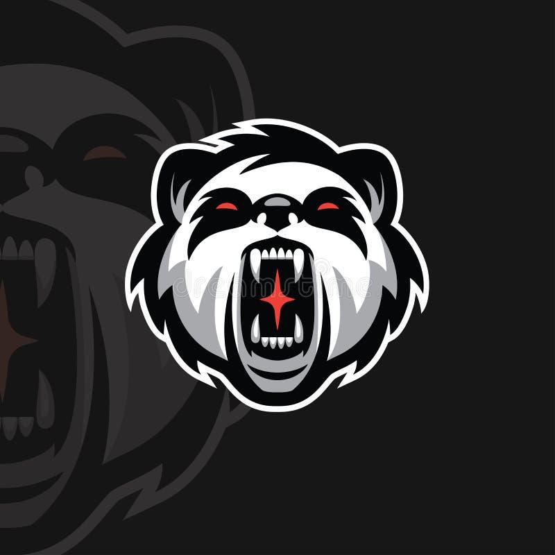 Logotipo del deporte de la panda e stock de ilustración