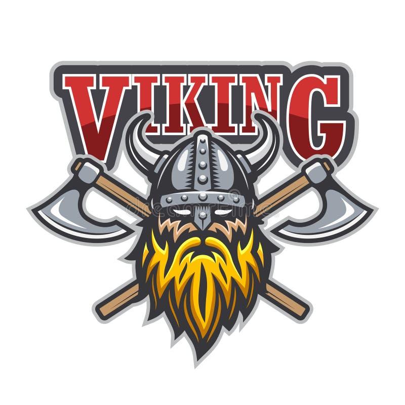 Logotipo del deporte del guerrero de Viking ilustración del vector