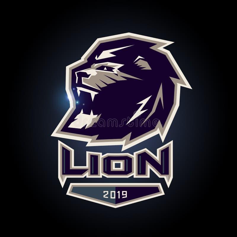 Logotipo del deporte del emblema e del león stock de ilustración
