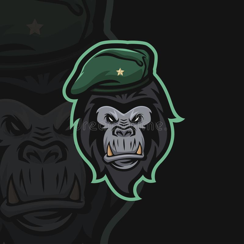 Logotipo del deporte del gorila e stock de ilustración