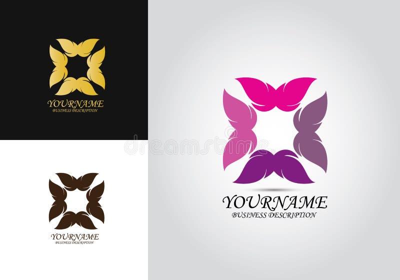 Logotipo del diseño del animal doméstico de la mariposa ilustración del vector