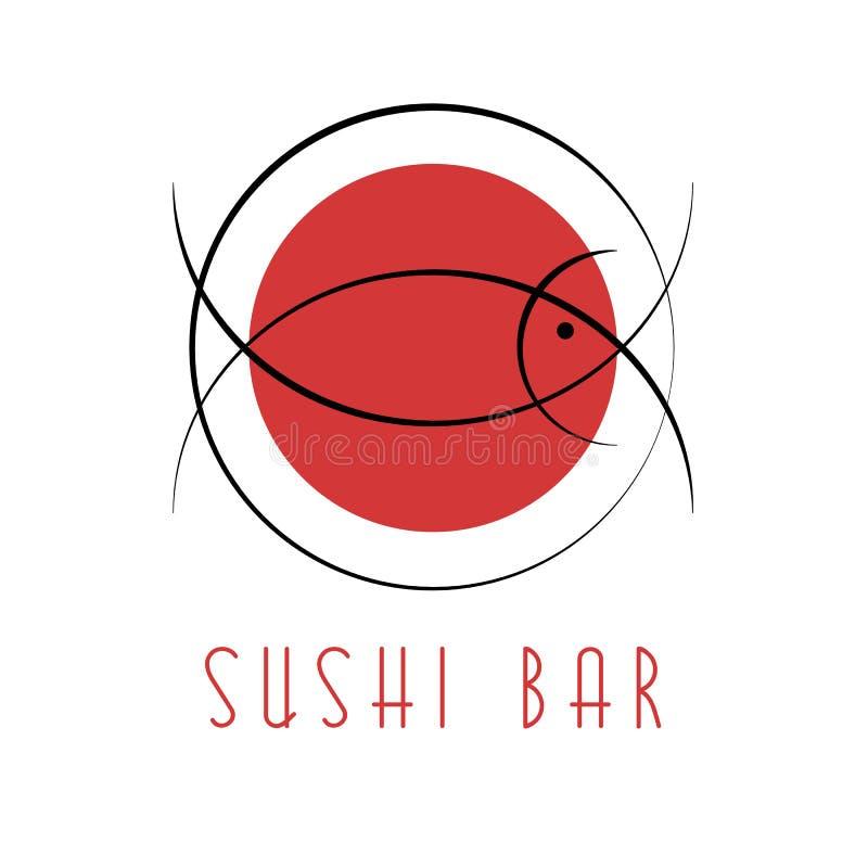 Logotipo del diseño del sushi, atún abstracto de los pescados, comida nacional japonesa stock de ilustración