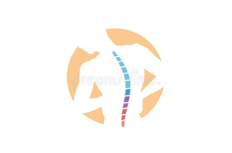 Logotipo del diseño del símbolo de los diagnósticos de la espina dorsal del vector de Exercice del dolor de cuerpo de la quiroprá ilustración del vector