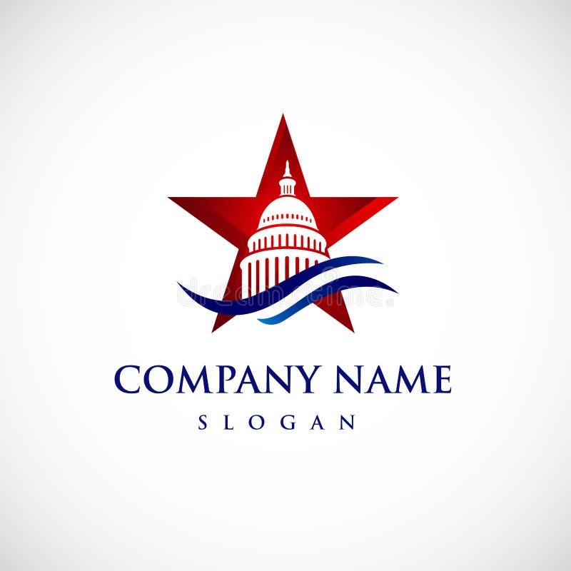 Logotipo del edificio del capitolio de la estrella Icono del gobierno superior libre illustration