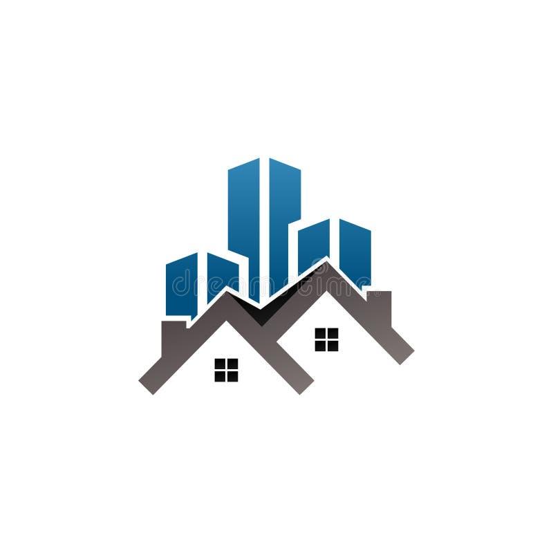 Logotipo del edificio de las propiedades inmobiliarias ilustración del vector