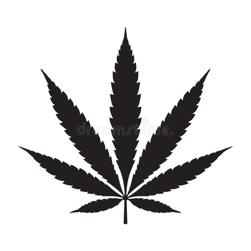 Logotipo del ejemplo del icono de la hoja del cáñamo de la marijuana de la mala hierba libre illustration