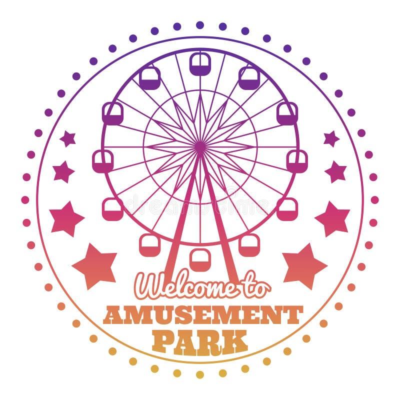 Logotipo del emblema de la recepción del parque de atracciones aislado en blanco ilustración del vector
