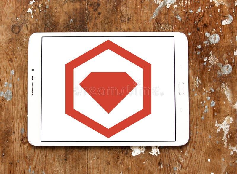 Logotipo del encargado del paquete de RubyGems imagenes de archivo