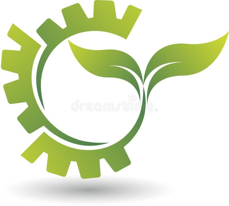 Logotipo del engranaje de Eco stock de ilustración
