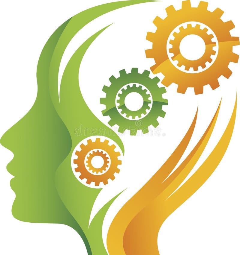 Logotipo del engranaje de la mente stock de ilustración
