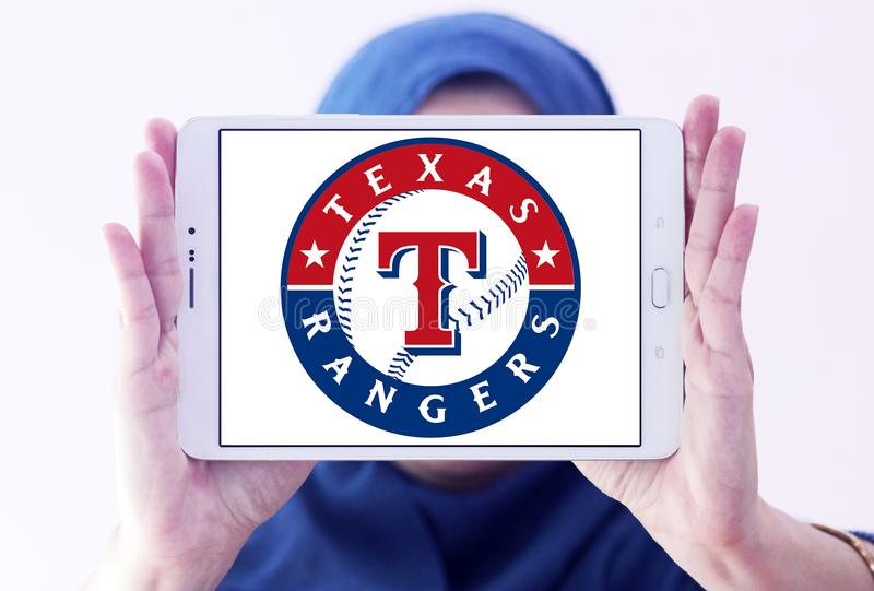 Logotipo del equipo de béisbol de Texas Rangers fotos de archivo