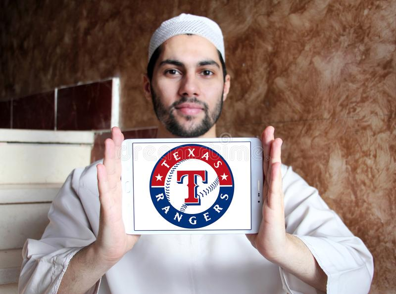 Logotipo del equipo de béisbol de Texas Rangers foto de archivo