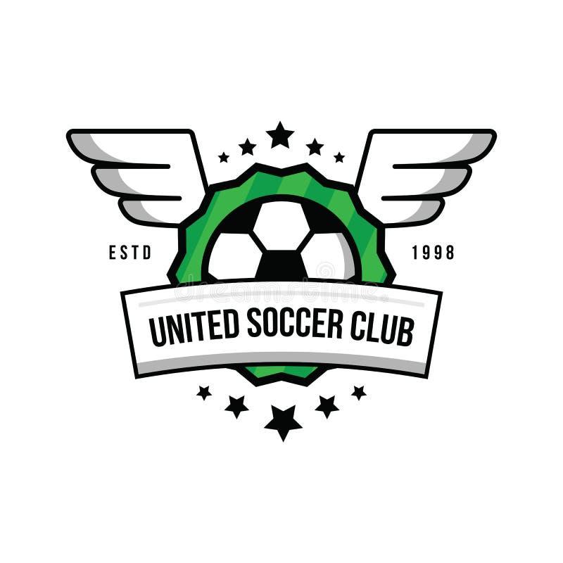 Logotipo del equipo de fútbol con una bola y alas en un fondo verde Equipo de fútbol de la insignia Bola, estrellas, alas, escudo ilustración del vector