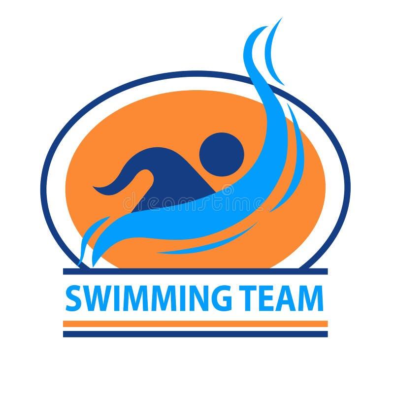 Logotipo del equipo de natación ilustración del vector