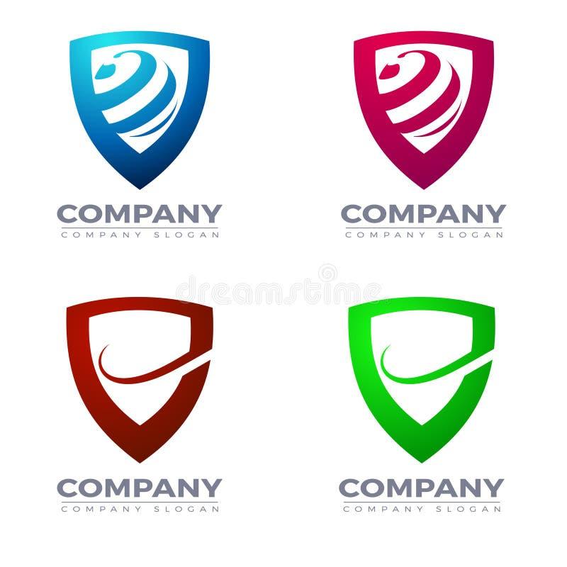 Logotipo del escudo y vector de los iconos stock de ilustración