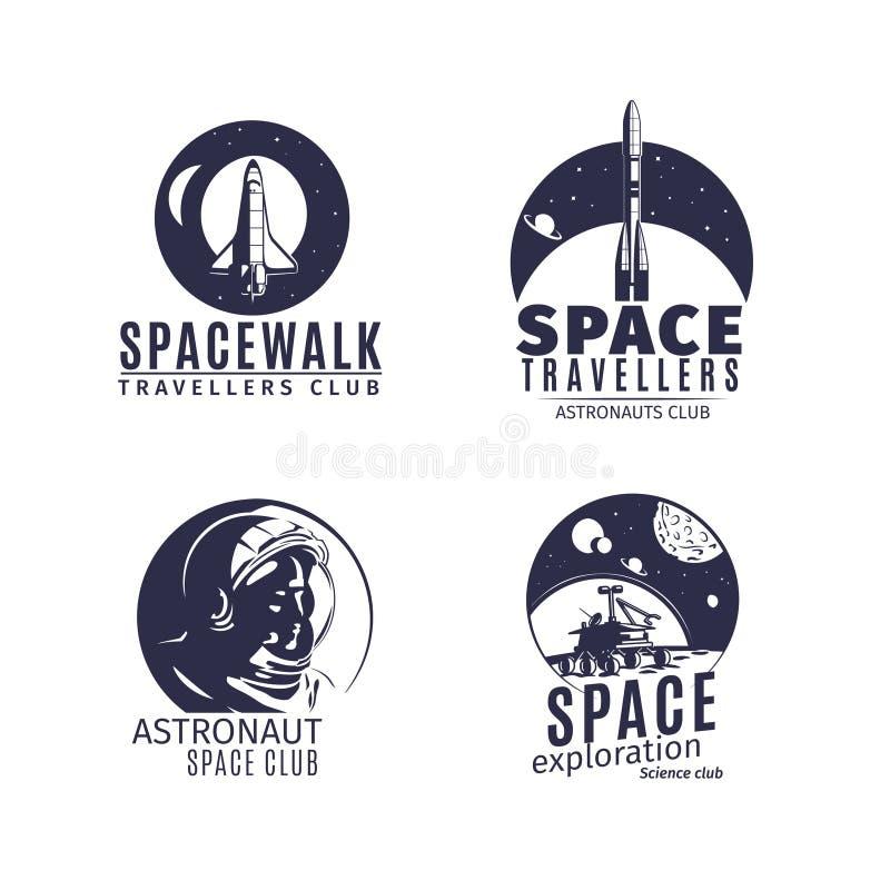 Logotipo del espacio fijado en estilo retro stock de ilustración
