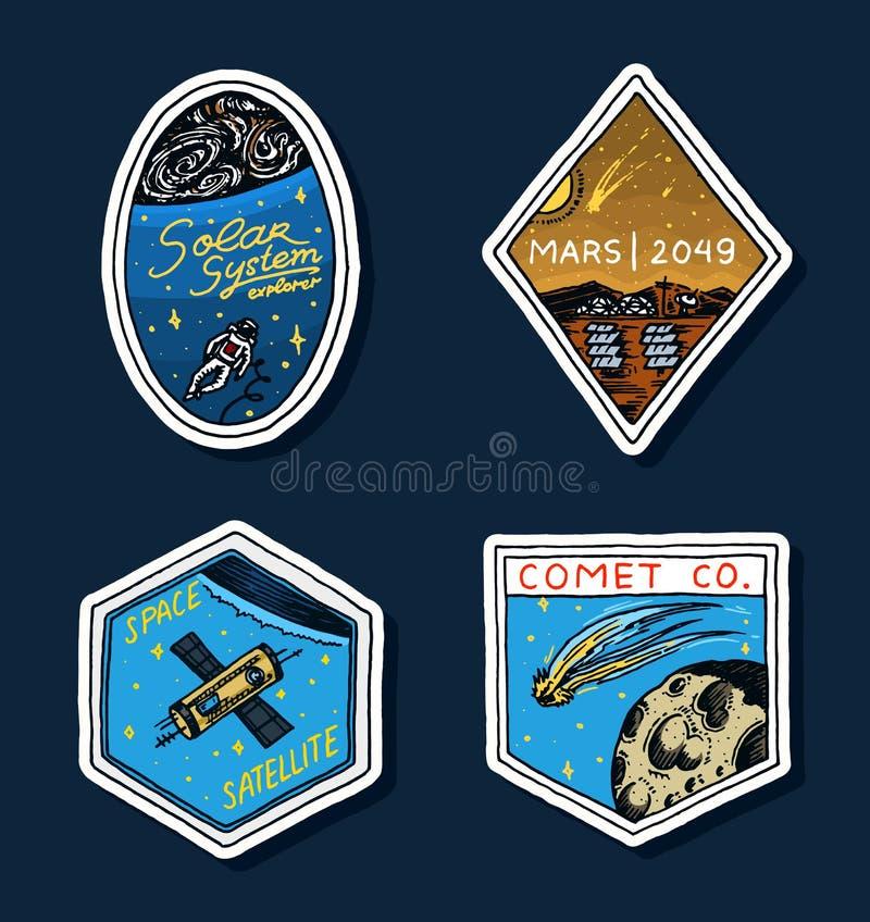 Logotipo del espacio del vintage Exploración de la galaxia astronómica astronauta o astronauta de la misión aventura del cosmonau ilustración del vector