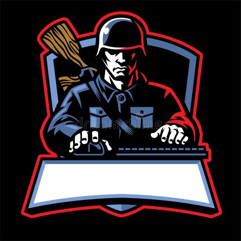 Logotipo del esport del soldado stock de ilustración