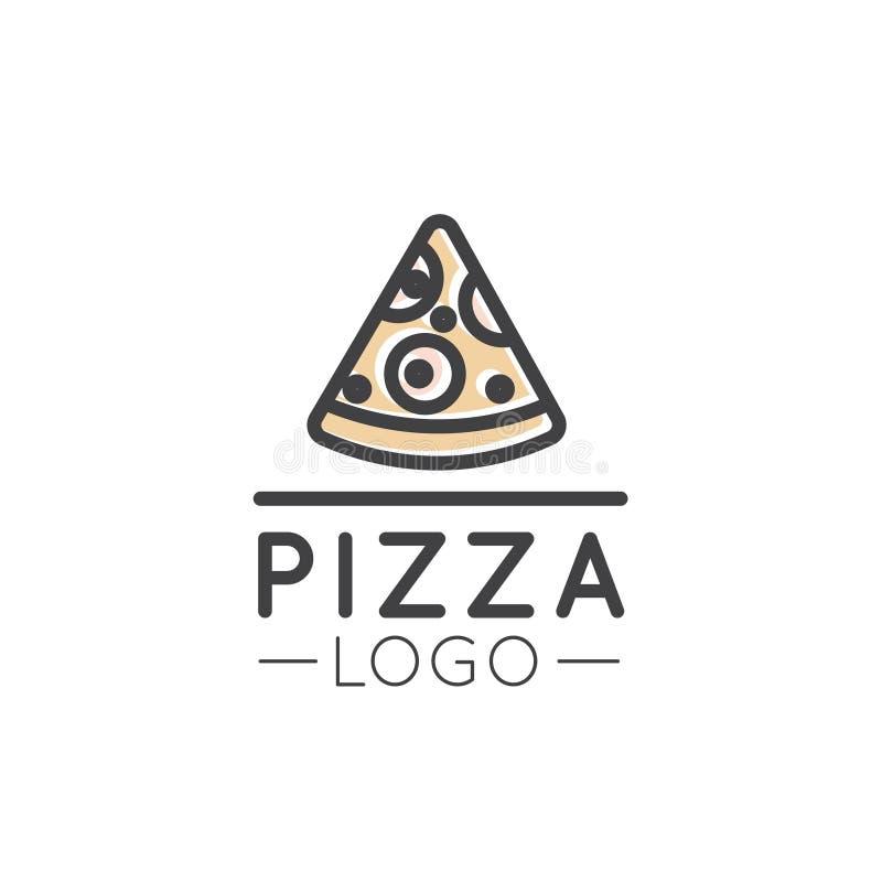 Logotipo del esquema de la historieta de la tarjeta de la tienda de alimentos rápida, lugar urbano, pizza, pastas, casa de la par libre illustration