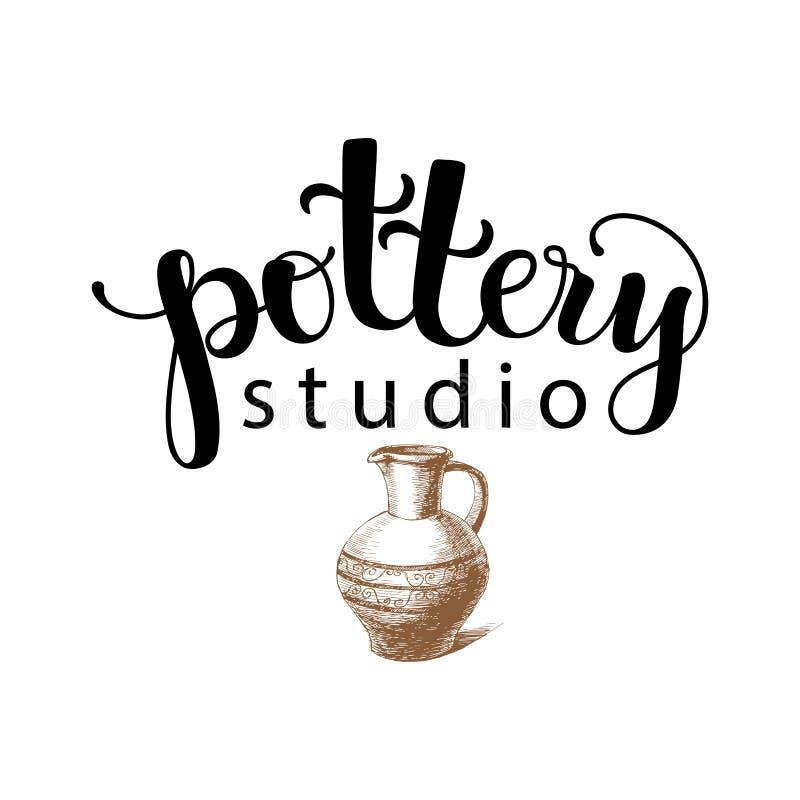 Logotipo del estudio de la cerámica stock de ilustración