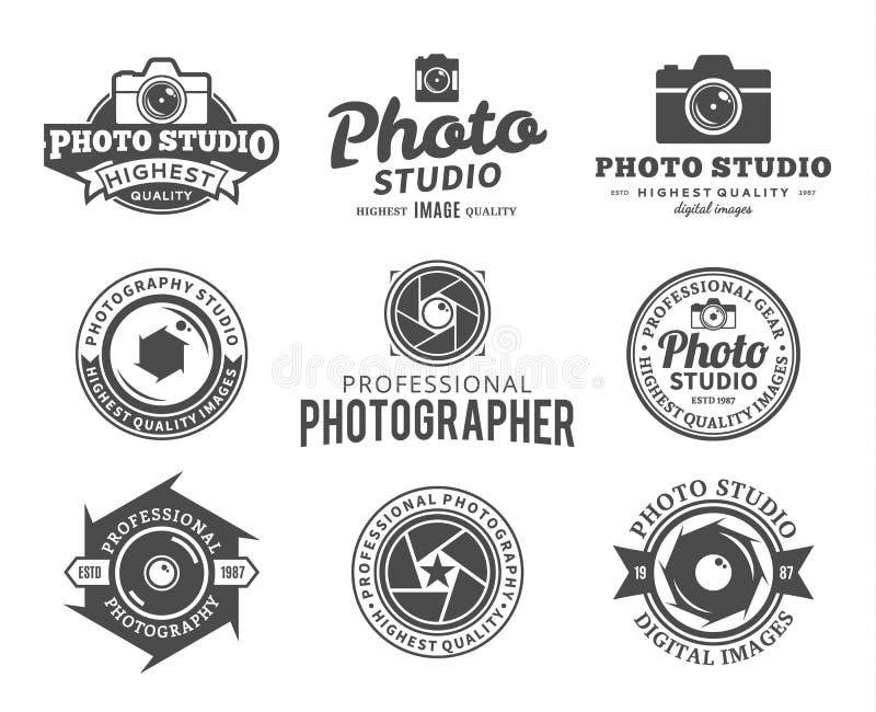 Logotipo del estudio de la fotografía, etiquetas, iconos y elementos del diseño stock de ilustración