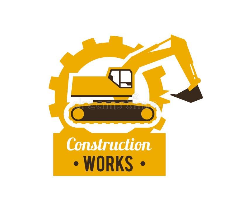 Logotipo del excavador Emplazamiento de la obra Equipo especial Contra la perspectiva del engranaje Ilustración del vector plano libre illustration