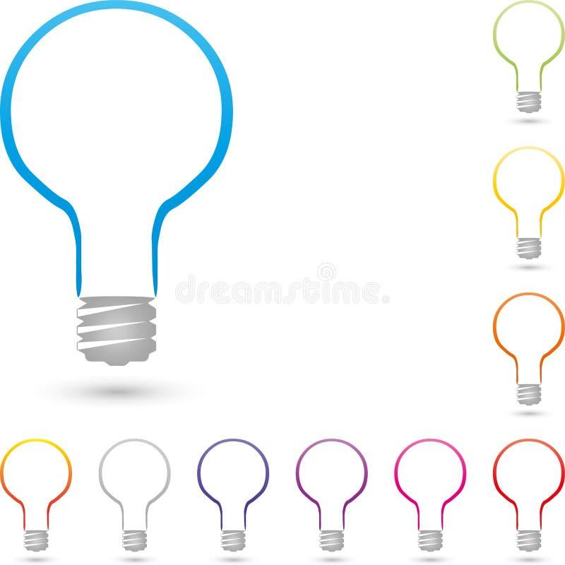Logotipo del extracto de la lámpara, de la lámpara y del electricista libre illustration