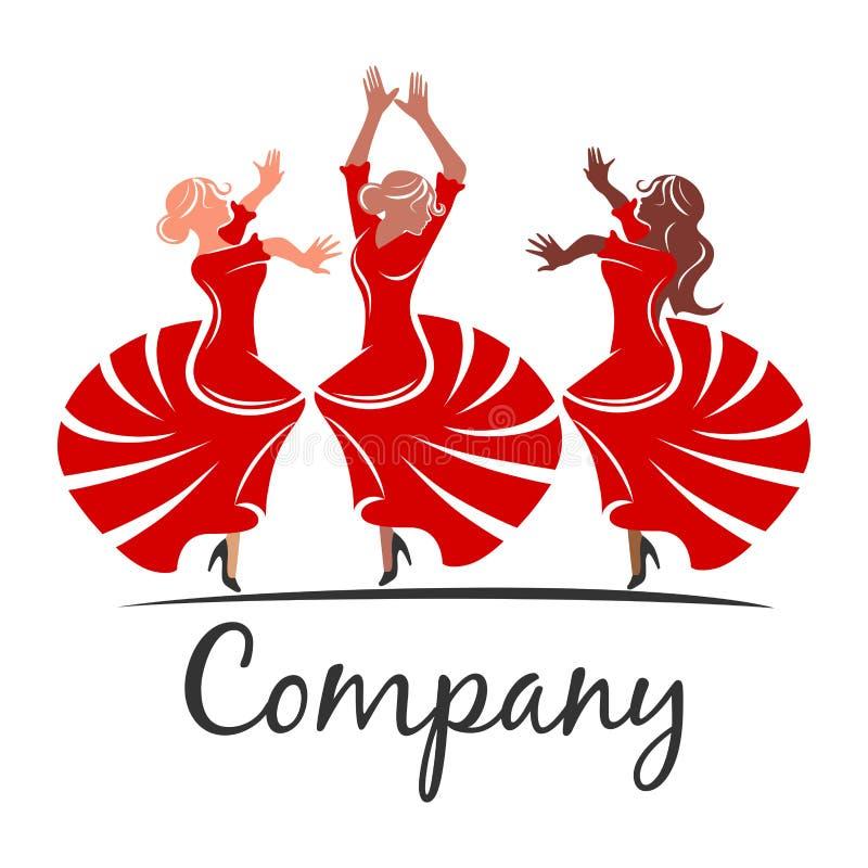 Logotipo del flamenco de la mujer Ilustración del vector ilustración del vector
