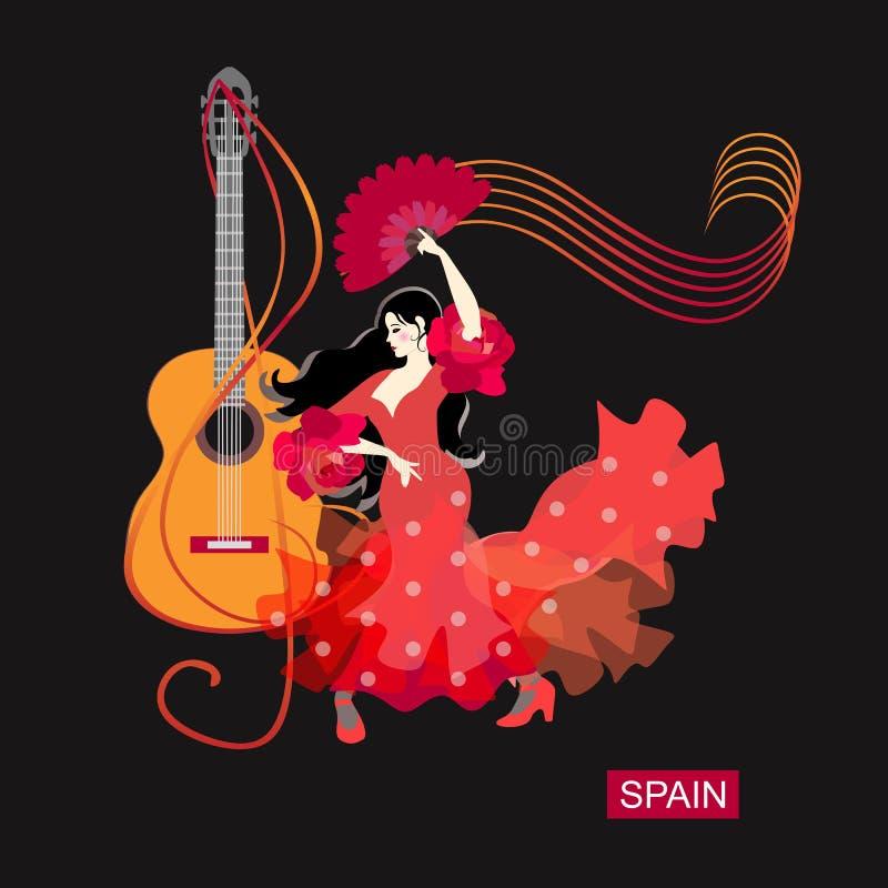 Logotipo del flamenco E ilustración del vector