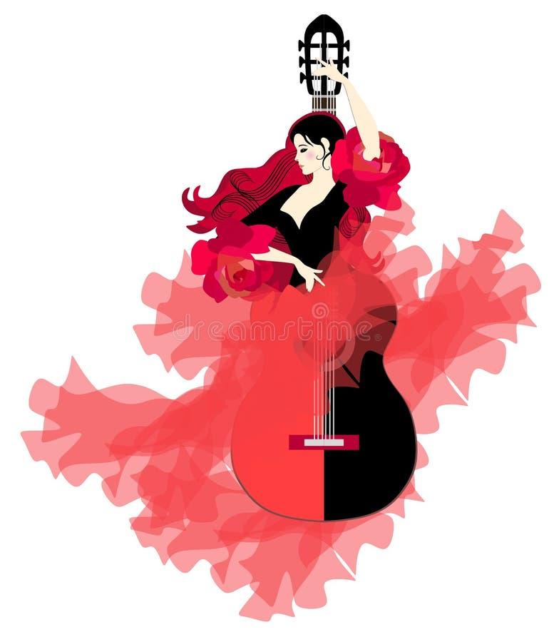 Logotipo del flamenco Guitarra-muchacha Bailarín elegante en un vestido largo hermoso en un fondo blanco stock de ilustración