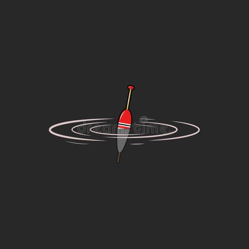 Logotipo del flotador que pesca la maqueta del emblema, ondulaciones de los pescados del mordisco en el agua, icono del bobber, f libre illustration