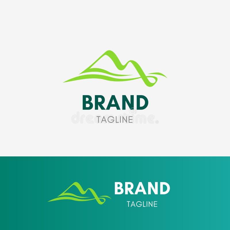 Logotipo del flujo de la montaña ilustración del vector