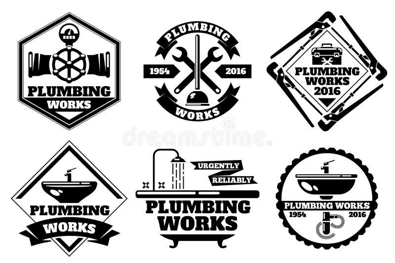 Logotipo del fontanero y sistema de trabajo del vector de la etiqueta de la fontanería de la fuerza stock de ilustración