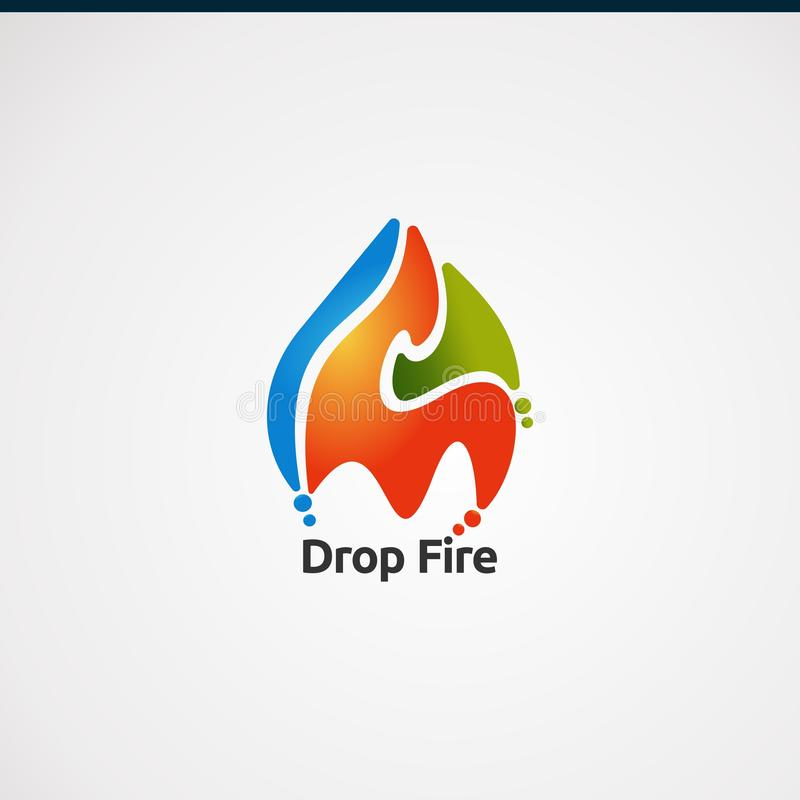 Logotipo del fuego del descenso con vector, el icono, el elemento, y la plantilla coloridos del logotipo del concepto para la com ilustración del vector