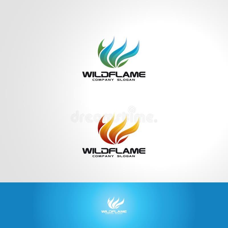 Logotipo del fuego - llama salvaje stock de ilustración
