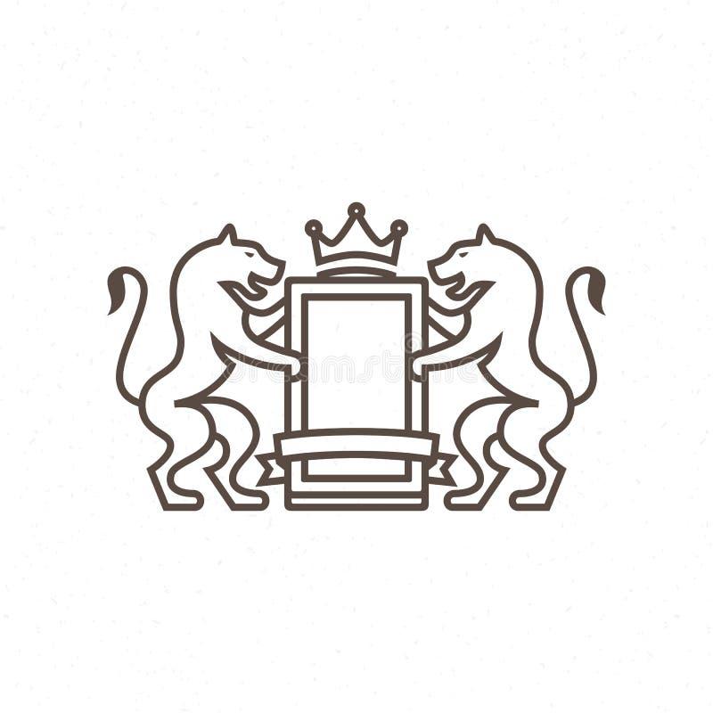 Logotipo del gato de la heráldica de líneas ilustración del vector