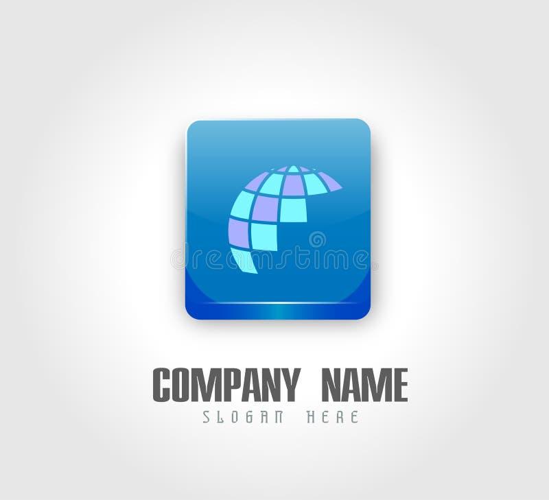 Logotipo del globo y elemento del icono en logotipo del cuadrado del brillo 3d stock de ilustración
