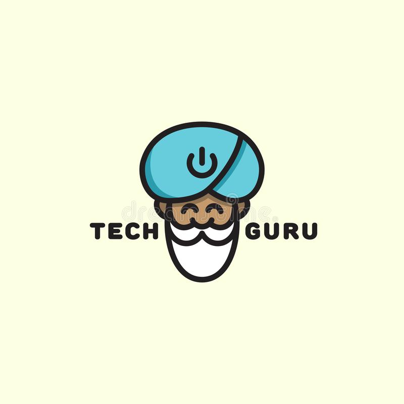 Logotipo del gurú de la tecnología ilustración del vector