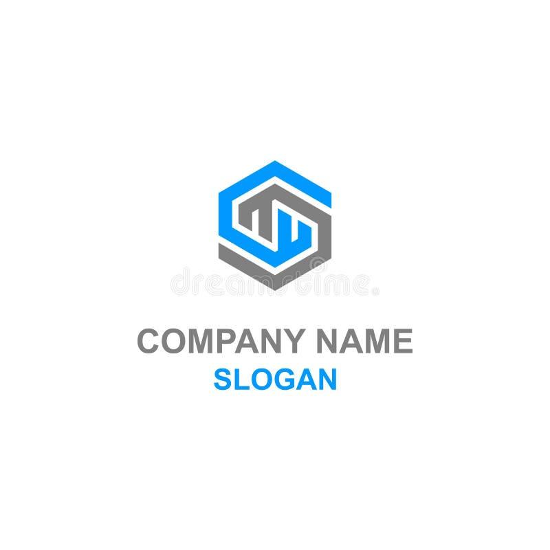 Logotipo del hexágono de la inicial de la letra de WM ilustración del vector