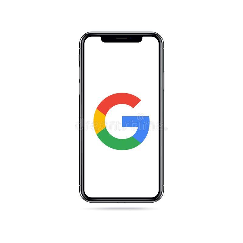 Logotipo del icono del app de Google en la pantalla del iphone ilustración del vector