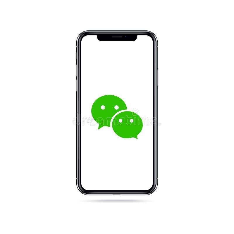 Logotipo del icono del app de Wechat en la pantalla del iphone stock de ilustración